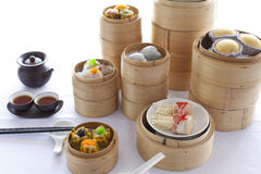 Dim sum in bamboo steamer Stock Photos