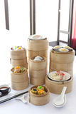 Dim sum in bamboo steamer Stock Photo