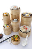 Dim sum in bamboo steamer Royalty Free Stock Image
