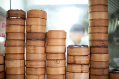 Dim Sum Bamboo Steamers Stock Photos
