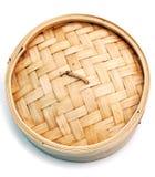 Dim sum-Bambusdampferkorb Stockbild