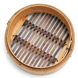 Dim sum-Bambusdampferkorb Lizenzfreie Stockbilder