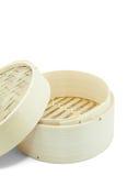 Dim-sum basket on white background Stock Photos