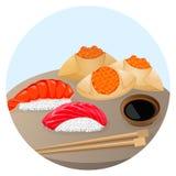 Dim sum chinês servido do alimento com camarão e salmões Foto de Stock