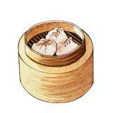 Dim sum chinois de nourriture d'aquarelle illustration de vecteur