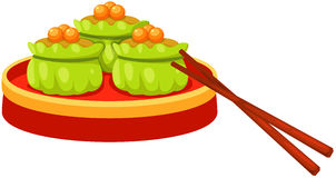 Dim sum with chopstick. Illustration of isolated dim sum chinese food with chopstick Royalty Free Stock Photography