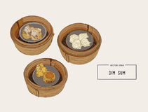 Dim sum colorful illustration. Vector illustration of Chinese cu. Dim sum in bamboo basket colorful illustration. Vector illustration of Chinese cuisine Stock Images