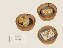 Dim sum  Vector illustration of Chinese cuisine. Royalty Free Stock Photos