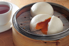 Dim sum custard bun. Chinese dim sum custard egg bun royalty free stock images