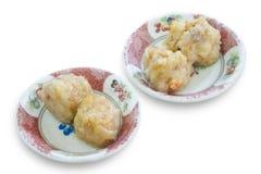 Dim sum dämpfte Garnelenmehlkloß in der Schüssel, chinesische Küche Stockfotografie