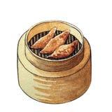 Dim sum d'aquarelle dans le vapeur en bois illustration libre de droits