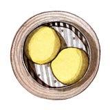 Dim sum d'aquarelle, petit pain d'or de crème anglaise illustration stock
