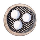 Dim sum d'aquarelle, petit pain de pâte de graine de lotus illustration stock