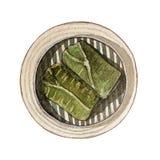 Dim sum d'aquarelle, riz enveloppé dans la feuille de lotus illustration stock