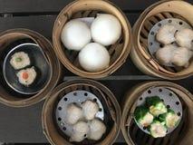 Dim sum de style chinois de vue supérieure Photo stock