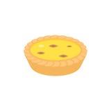 Dim sum dessert, egg tart in cantonese style. Flat design icon Royalty Free Stock Image