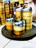 Dim sum -food -basket -culture -Chinese -Chinese karmowy -market Obraz Royalty Free