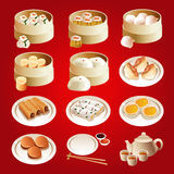 Dim sum icons. A vector illustration of dim sum icon sets Royalty Free Stock Photography