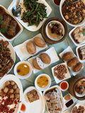 Dim sum lunch view from the top. Many plates of dim sum dish at lunch time view from the top,flat lay Royalty Free Stock Photography