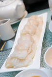 Dim Sum - rice noodle roll with prawn Stock Images