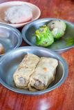 Dim sum. Serve in bamboo plate stock photo