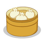 Dim Sum in a Steamer. Vector illustration of Dim Sum in bamboo steamer Royalty Free Stock Photography