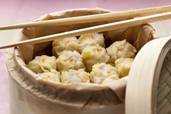 Dim Sum in a steaming basket Royalty Free Stock Images