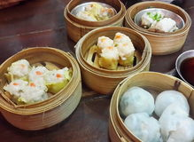 Dim sum. Streamed pork dumpling and streamed shrimp dumpling Stock Images