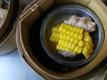 Dim sum in Thai restaurant. Dim Sum in Thailand, Chinese cuisine prepared as small bite-sized portions of food served in small steamer baskets.  Dim Sum in small stock photography