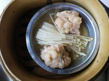Dim sum in Thai restaurant. Dim Sum in Thailand, Chinese cuisine prepared as small bite-sized portions of food served in small steamer basket.  Dim Sum in small stock photography