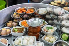 Dim-sum traditional chinese food steamed in pot. Various of Dim-sum traditional chinese food steamed in pot stock photos