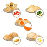 Dim-sum treats in plates set wrapped dough with shrimps,. Cheese and egg, dim sum with avocado and red caviar vector illustration isolated on white Royalty Free Stock Images