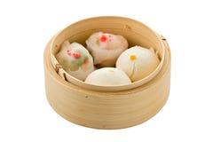 Dim Sum in vapore di bambù Fotografie Stock
