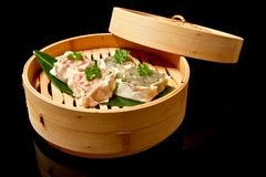 Dim Sums in bamboo basket Royalty Free Stock Photography