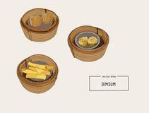 Dim sumvektorillustration av kinesisk kokkonst vektor illustrationer