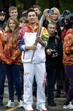 Dima Bilan Olympic torch relay Stock Images