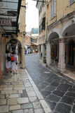 Dimarchou Kolla street in Kerkyra, Corfu Royalty Free Stock Photography