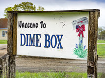 Dime Box, Texas Sign. Rustic, hand painted, welcome sign to the rural town of Dime Box, Texas Royalty Free Stock Photos