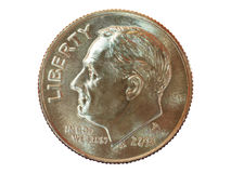 2014 dime. Close up of a 2014 un-Circulated dime Stock Images