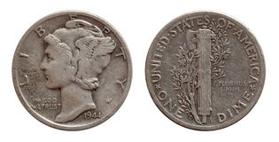 Dime ten cents US coin silver both sides isolated on white stock images