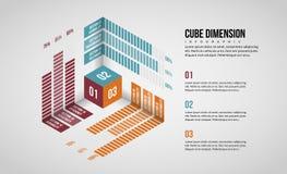 Dimensão isométrica Infographic do cubo ilustração royalty free
