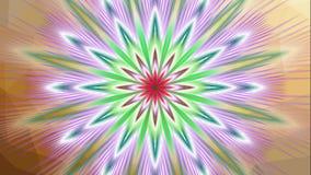 Dimensión animada de la flor del fractal, estrella multicolora con colores variables, fondo video inconsútil de la mandala ilustración del vector