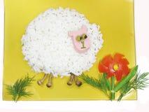 Dimensión de una variable creativa de las ovejas de las gachas de avena Imagenes de archivo