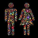 Dimensión de una variable de los hombres y de las mujeres Imagen de archivo libre de regalías