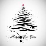 Dimensión de una variable del árbol de navidad en estilo caligráfico Fotografía de archivo libre de regalías