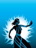 Dimensión de una variable del azul del color de la silueta de la mujer stock de ilustración