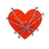 Dimensión de una variable del corazón envuelta con alambre de púas Imagenes de archivo