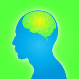 Dimensión de una variable del hombre con el cerebro Fotos de archivo