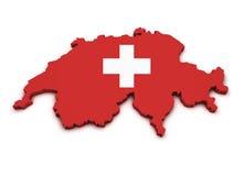 Dimensión de una variable del mapa del icono de Suiza Imagenes de archivo