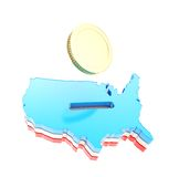 Dimensión de una variable del país de los E.E.U.U. como moneybox con una moneda de oro Fotos de archivo libres de regalías
